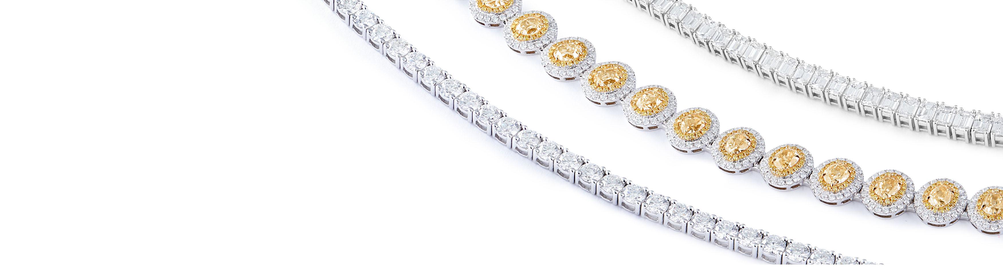 Rub Over Diamond Tennis Bracelets