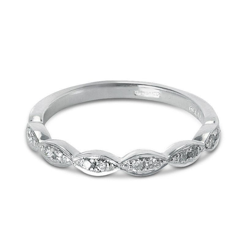 0.11ct Decorative Setting Half Band Diamond Wedding Ring