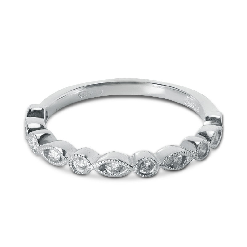 0.17ct Decorative Setting Half Band Diamond Wedding Ring