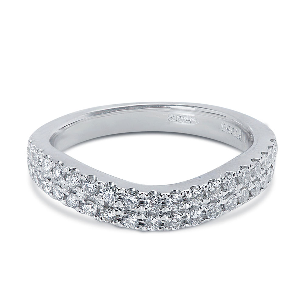 4mm Double Row Micro Setting Curved Diamond Wedding Ring