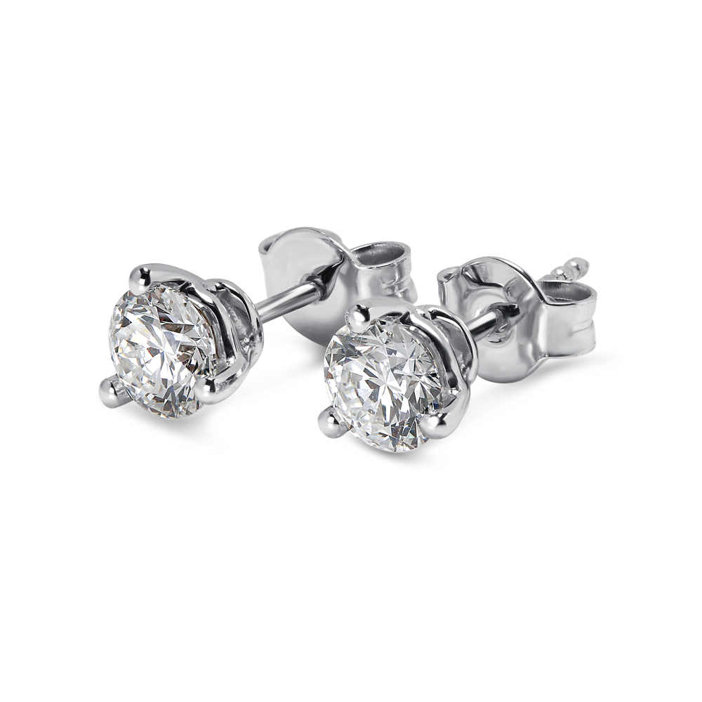 18k White Gold Three Claw 0.50ct Total Diamond Earring Studs