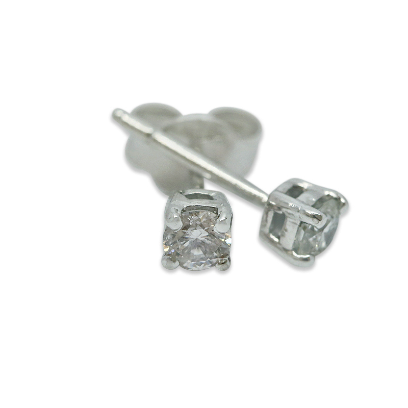 18k White Gold Four Claw 0.15ct Total Diamond Earring Studs