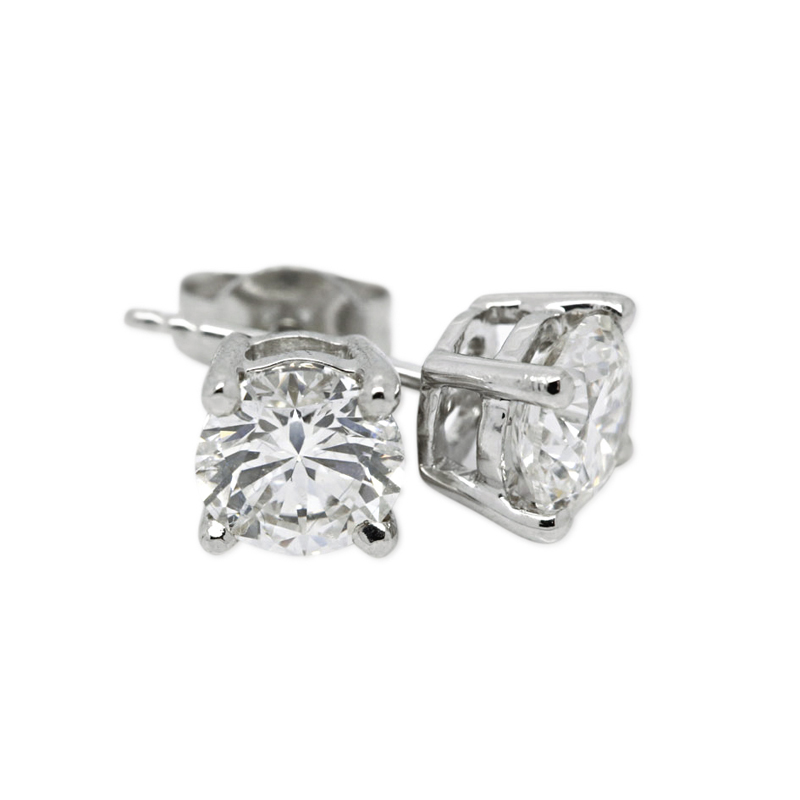 18k White Gold Four Claw 0.70ct Total Diamond Earring Studs