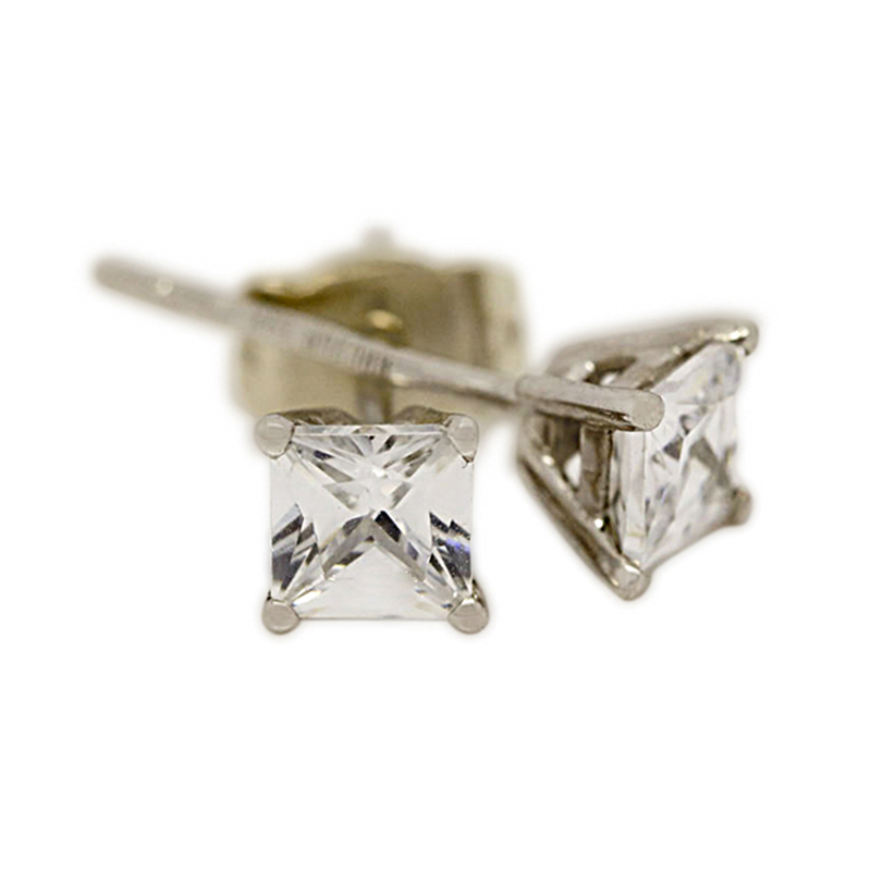 18k White Gold Four Claw 0.80ct Total Princess Cut Diamond Earring Studs
