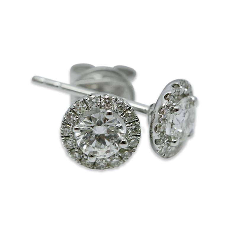 18k White Gold 1ct Total Round Halo Setting Diamond Earring Studs