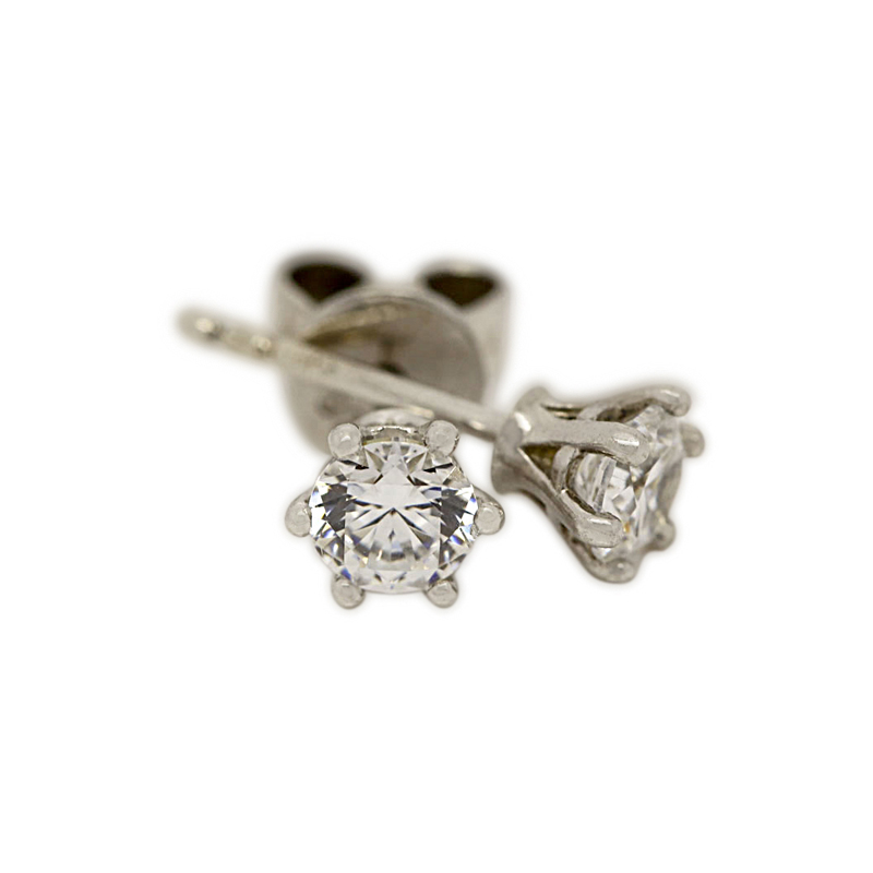 18k White Gold Six Claw 0.30ct Total Diamond Earring Studs