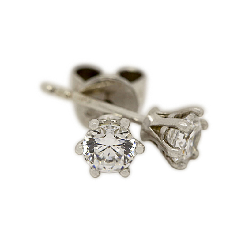 18k White Gold Six Claw 0.50ct Total Diamond Earring Studs