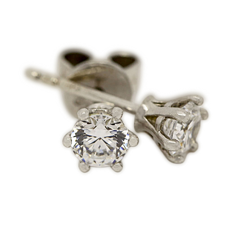 18k White Gold Six Claw 0.70ct Total Diamond Earring Studs
