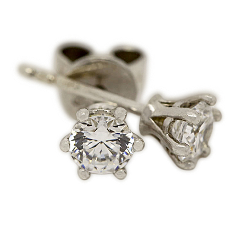 18k White Gold Six Claw 1ct Total Diamond Earring Studs