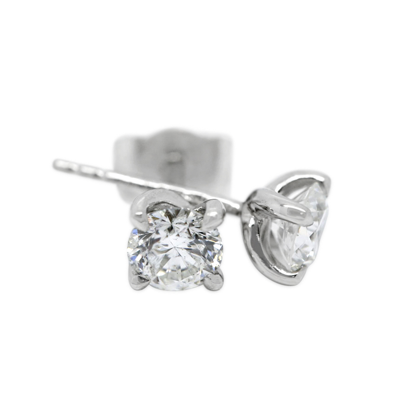 18k White Gold Four Claw Twist 0.50ct Total Diamond Earring Studs