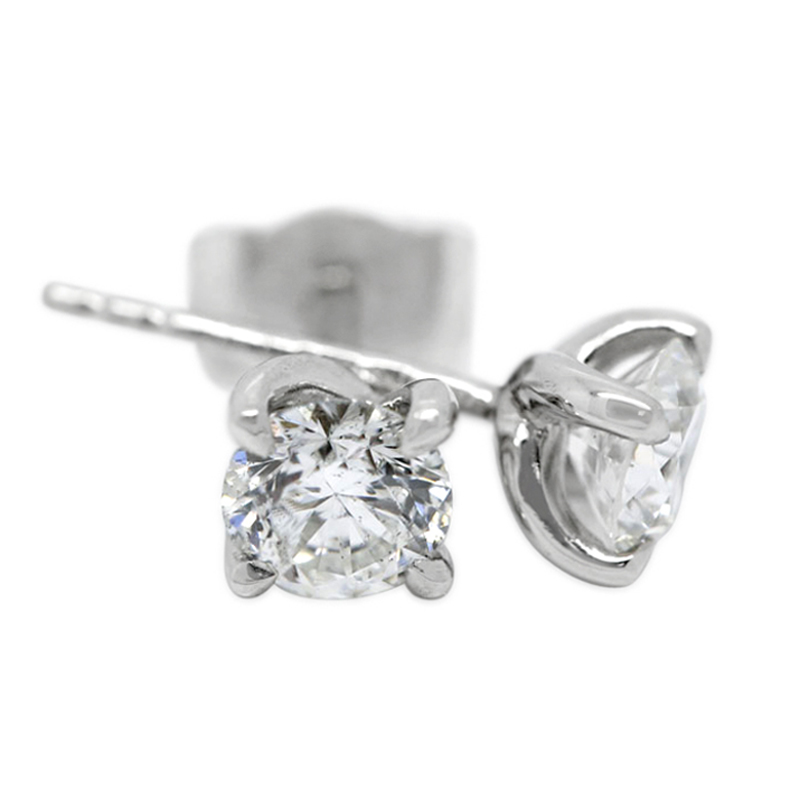 18k White Gold Four Claw Twist 1ct Total Diamond Earring Studs