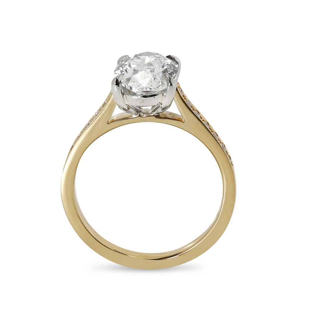 Yellow Gold Shoulder Set Lab Grown Oval Cut Engagement Ring