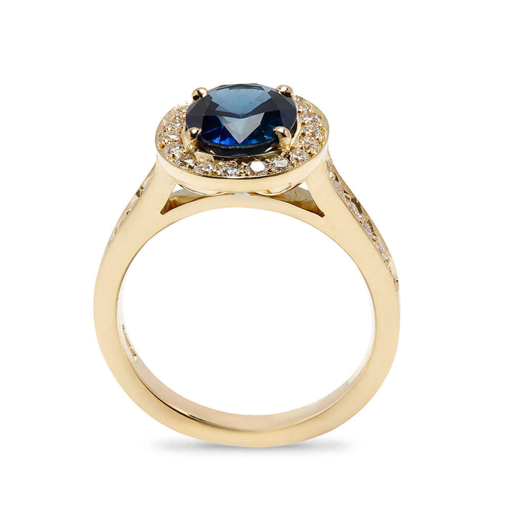 Royal Design Yellow Gold Blue Sapphire Halo Diamond Engagement Ring