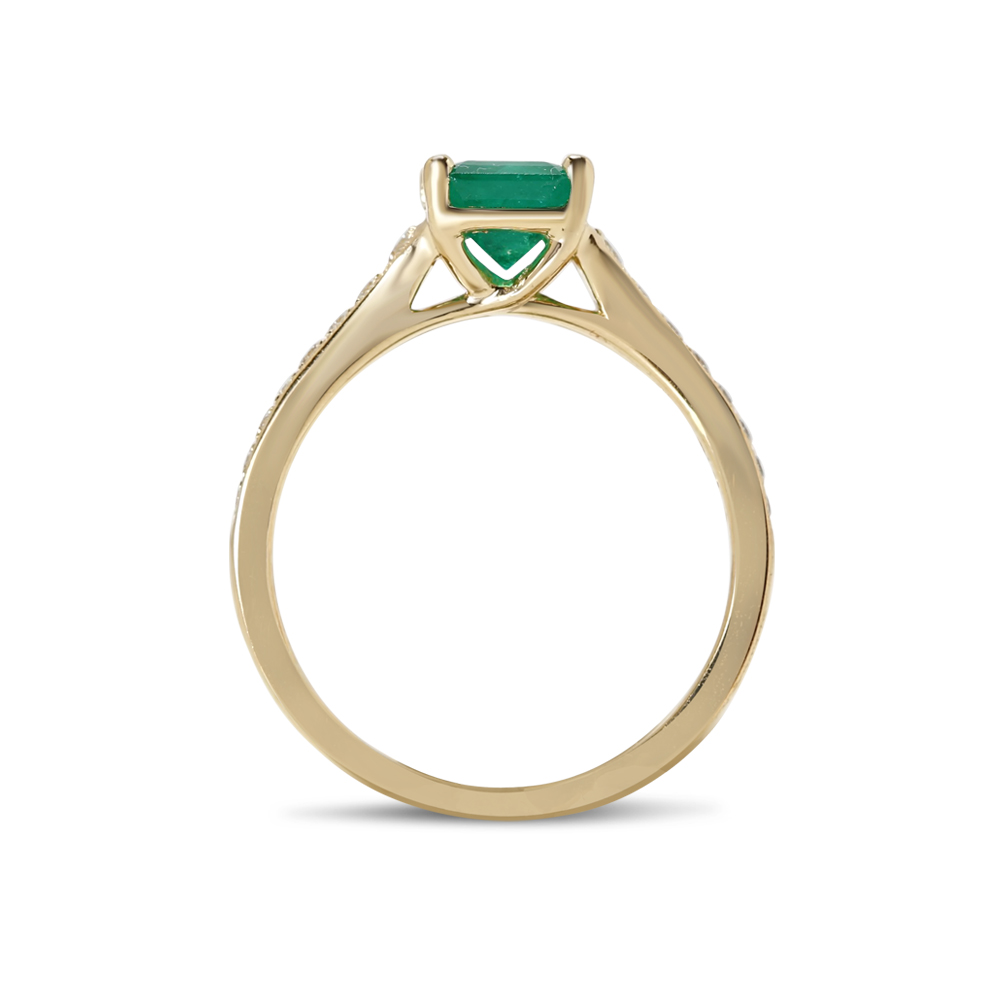 Reverse Tapered Green Emerald Diamond Engagement Ring