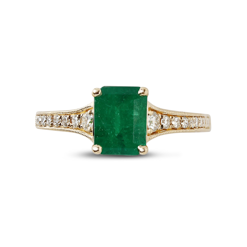 Danijela Reverse Tapered Green Emerald Diamond Engagement Ring