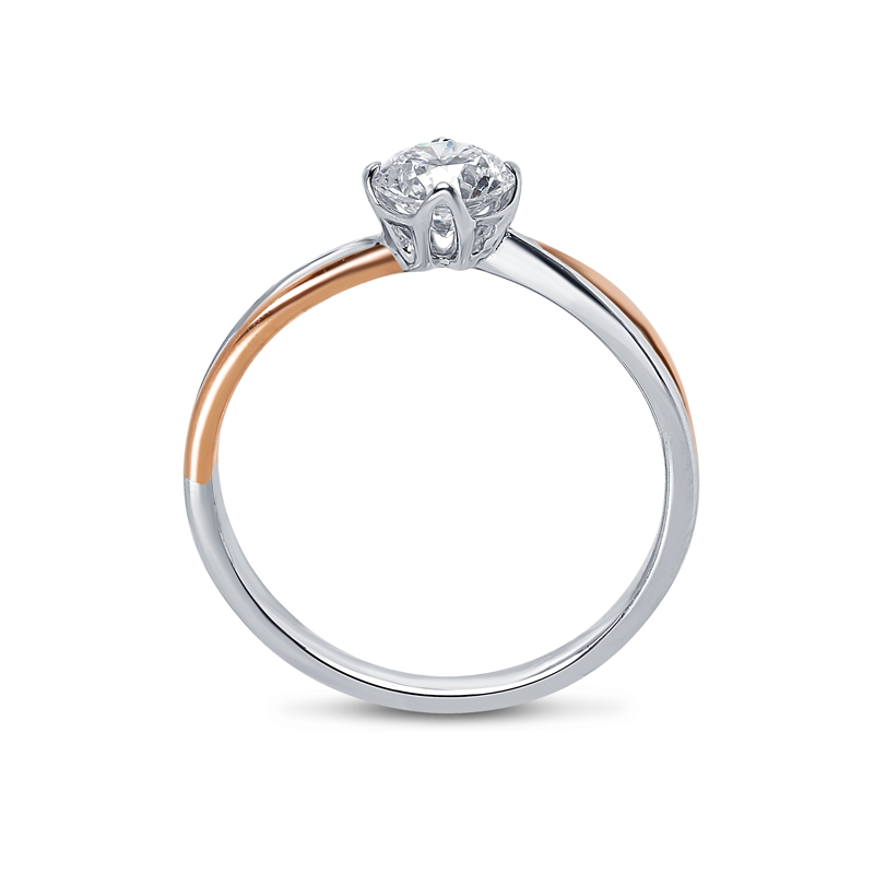 Split Shank Two Metals Diamond Engagement Ring