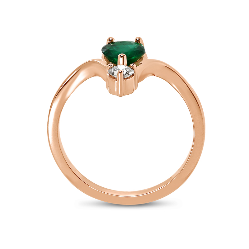 Pear Green Emerald and Small Diamond Engagement Ring