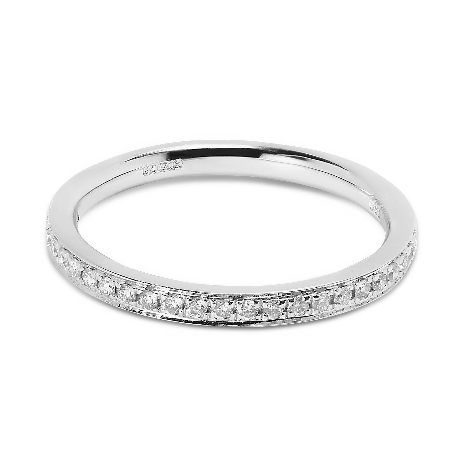 Classic 2.2mm Pave Setting Half Band Diamond Wedding Ring