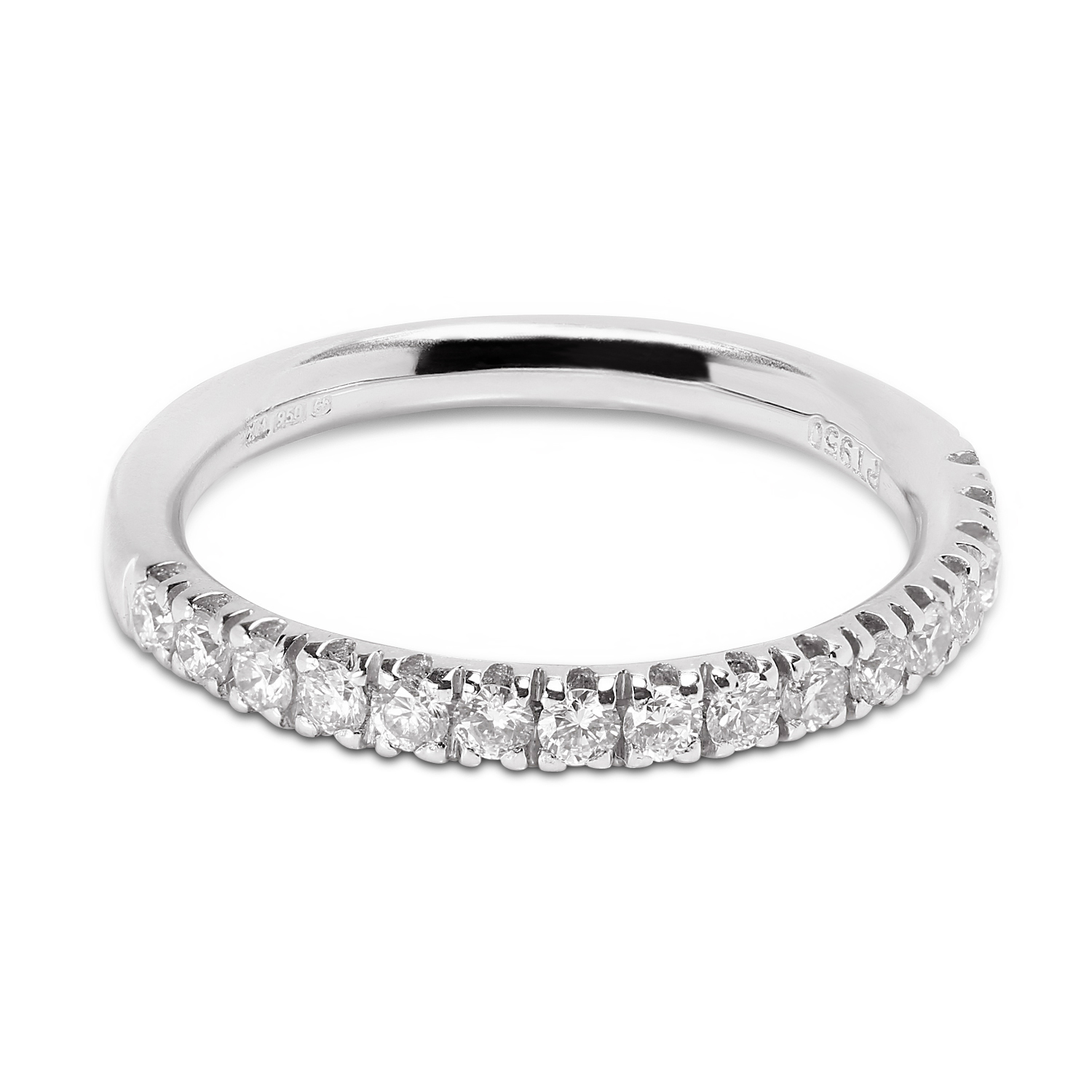 Classic 2.2mm Micro Setting Half Band Diamond Wedding Ring