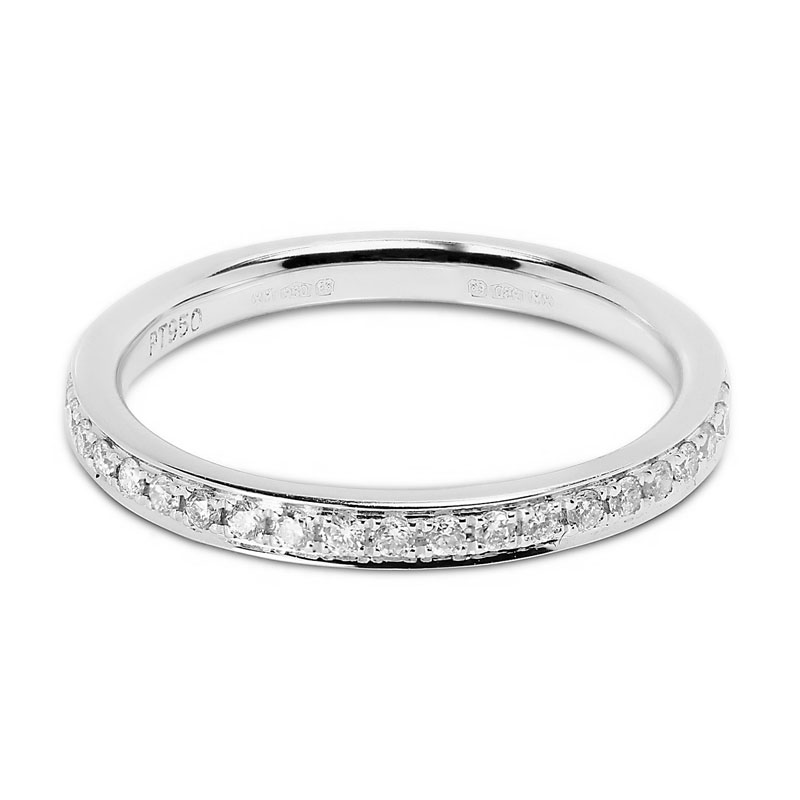Classic 2.4mm Pave Setting Half Band Diamond Wedding Ring