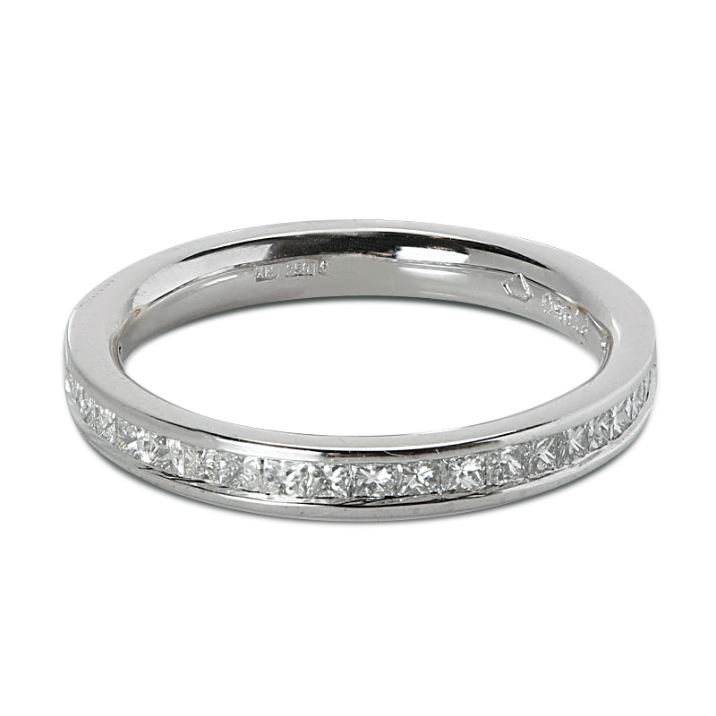 2.5mm Channel Setting Princess Cut Half Band Diamond Wedding Ring