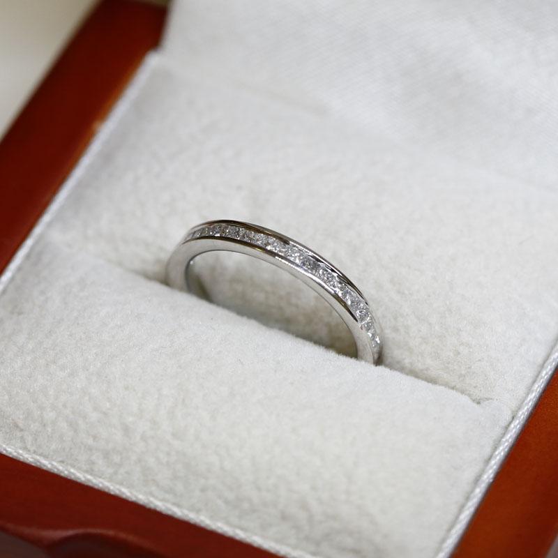 2.5mm Channel Setting Princess Cut Half Band Diamond Wedding Ring