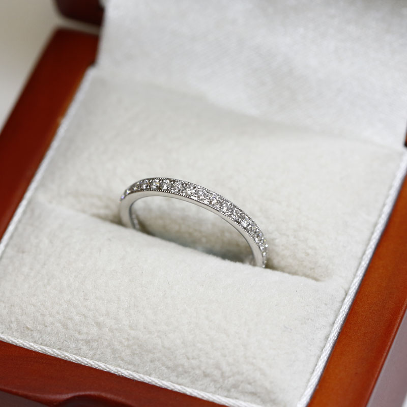 Classic Mille Grain Set 2.5mm Ring Half Band Diamond Wedding Ring