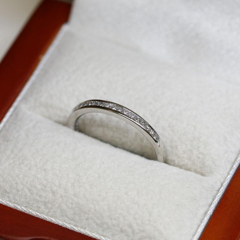 2mm Channel Setting Princess Cut Half Band Diamond Wedding Ring
