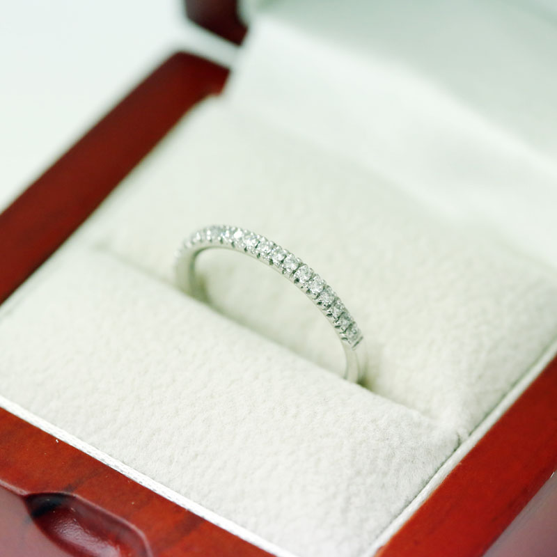 Classic 2mm Micro Setting Half Band Diamond Wedding Ring