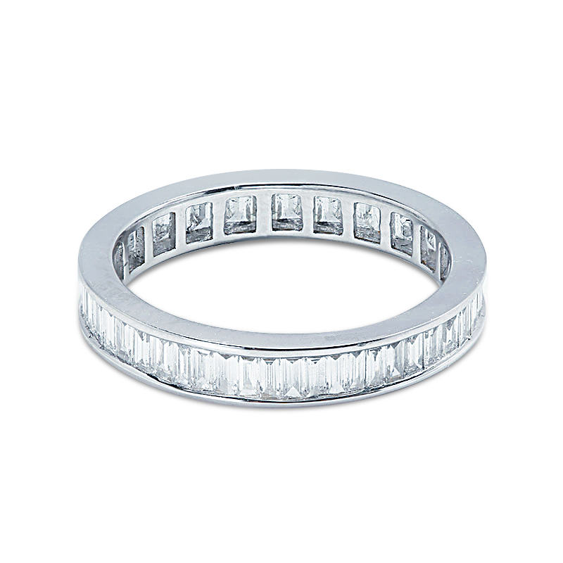 3.5mm Channel Setting Baguette Cut Full Diamond Eternity Ring