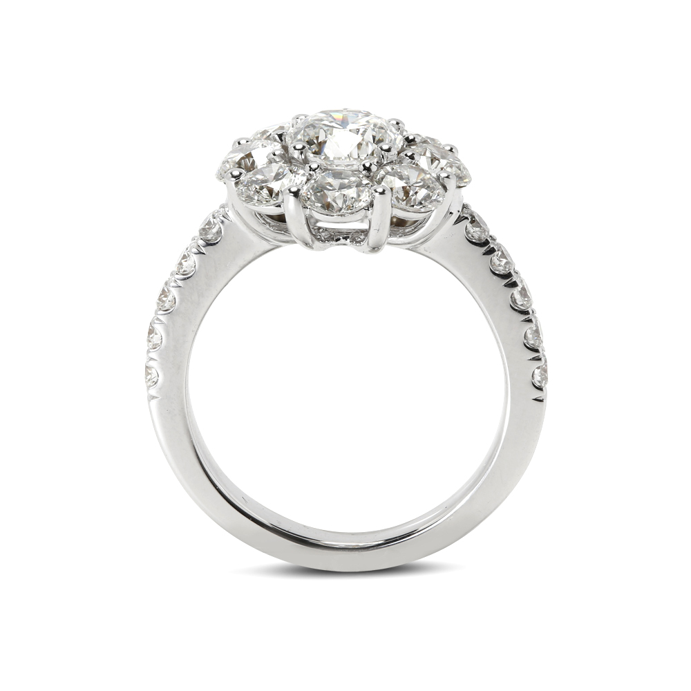 3ct Cluster Round Cut Diamond Cocktail Ring