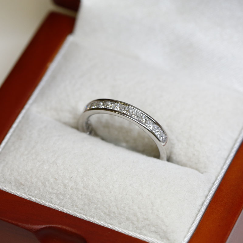 3mm Channel Setting Princess Cut Half Band Diamond Wedding Ring