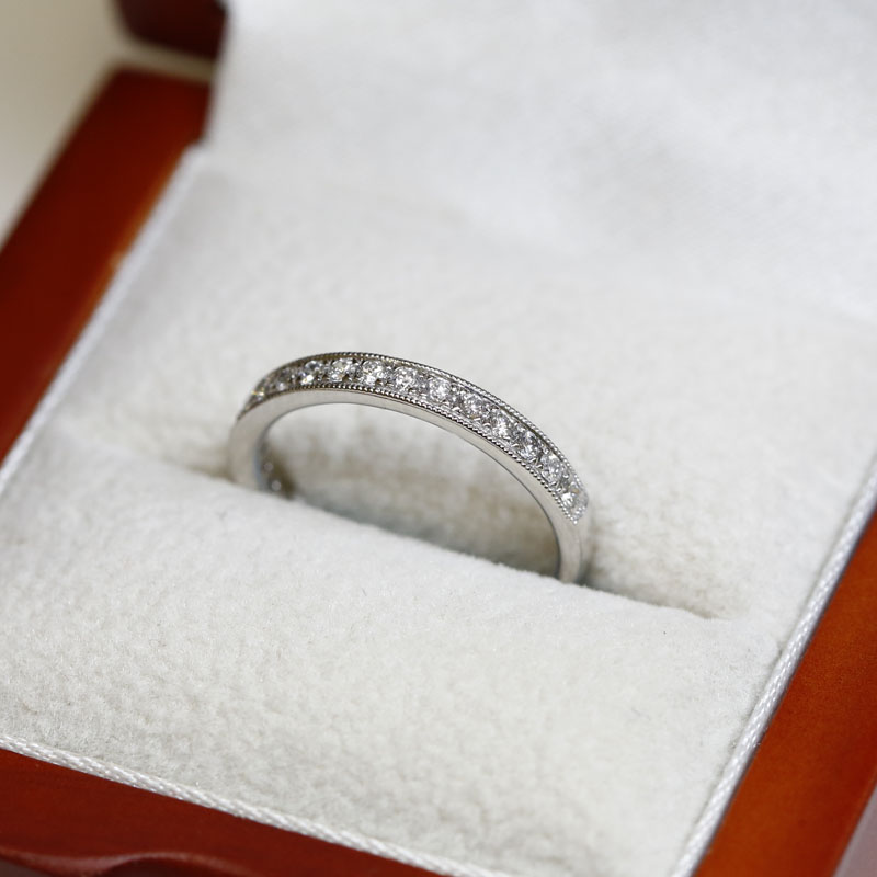 Classic Mille Grain Set 3mm Ring Half Band Diamond Wedding Ring