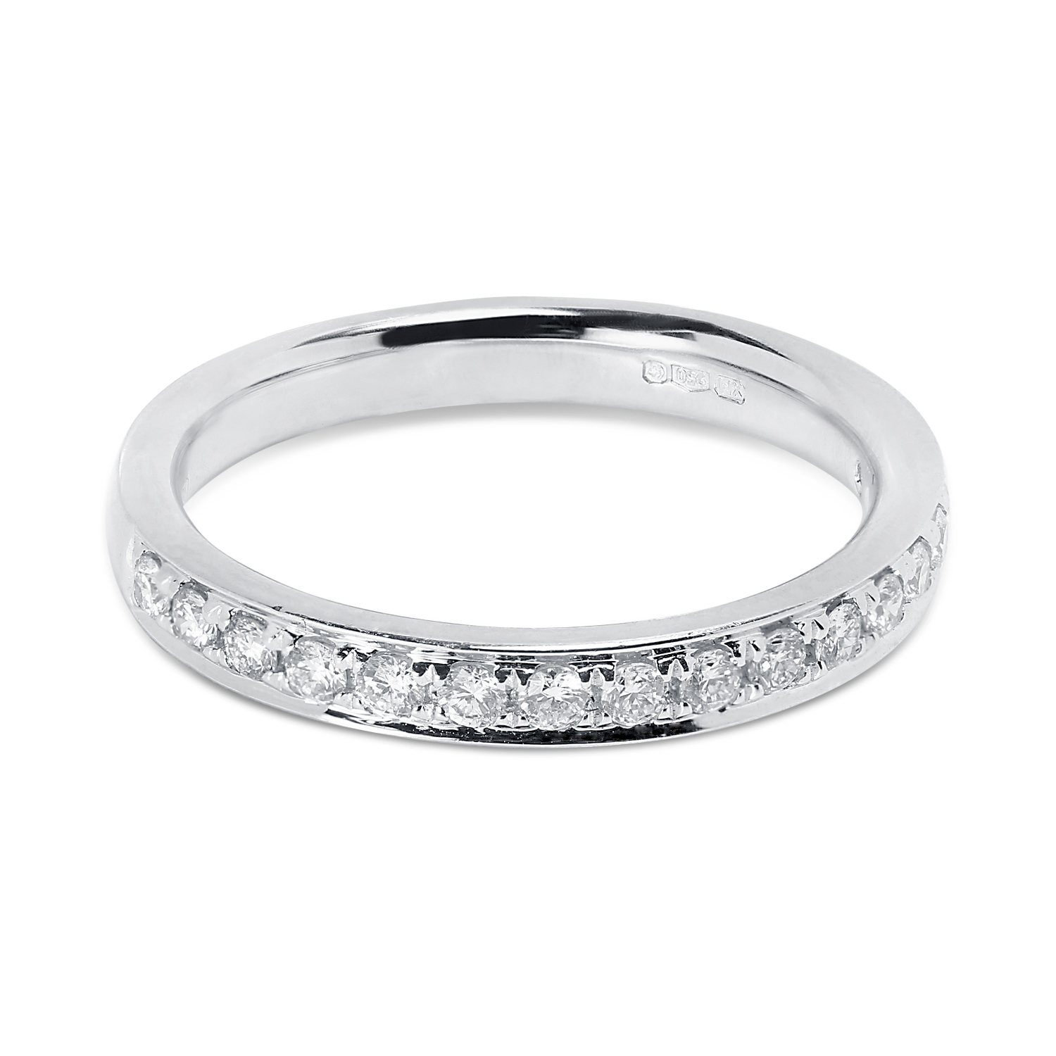 Classic 3mm Pave Setting Half Band Diamond Wedding Ring