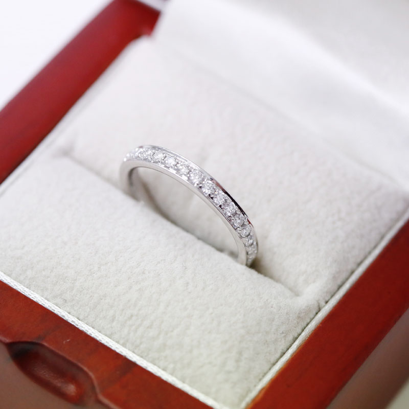Classic 2.7mm Pave Setting Half Band Diamond Wedding Ring