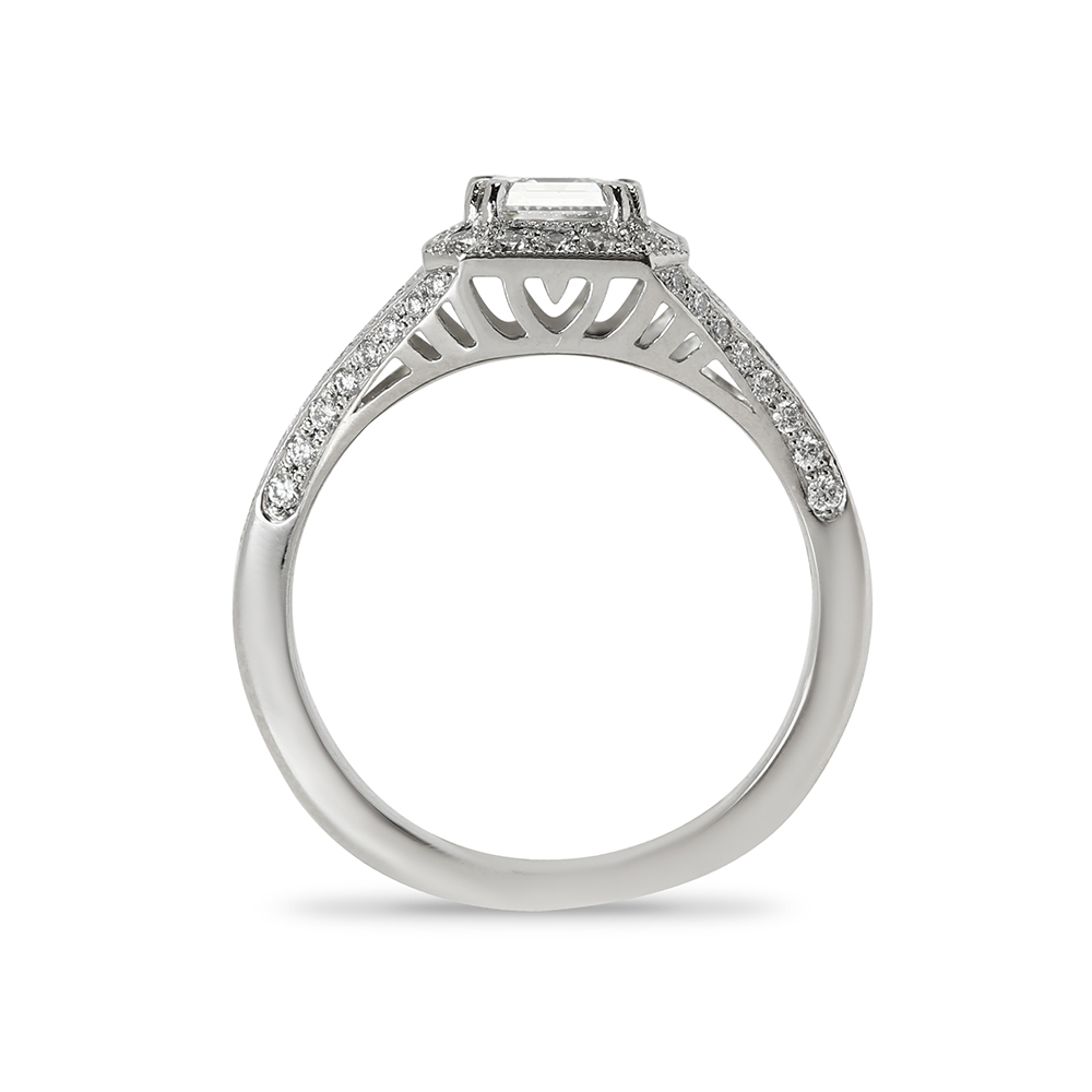 Art Deco Asscher Cut Lab Grown Diamond Engagement Ring