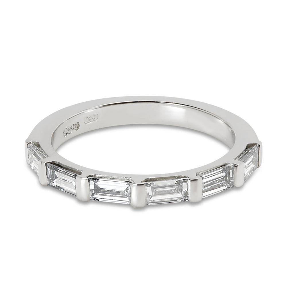 Baguette Cut Half Band Diamond Wedding Ring