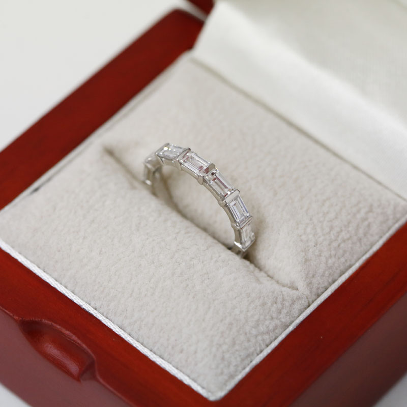 Baguette Cut Half Band Diamond Wedding Ring