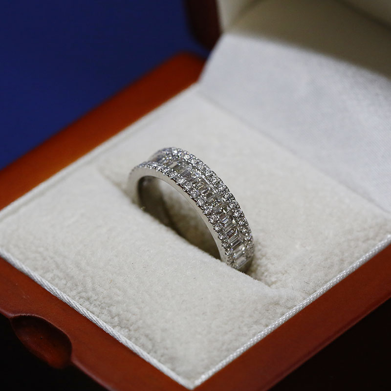 Baguette & Pave Diamond Channel Wedding Band