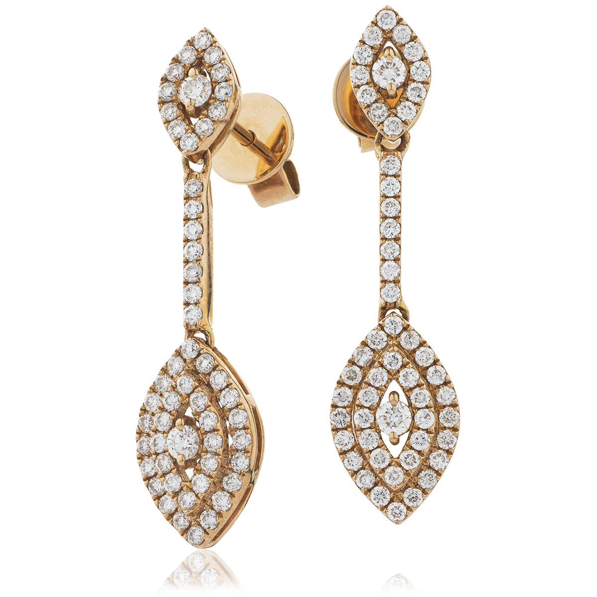 Marquise Shape Bar Set Pave Drop Diamond Earrings