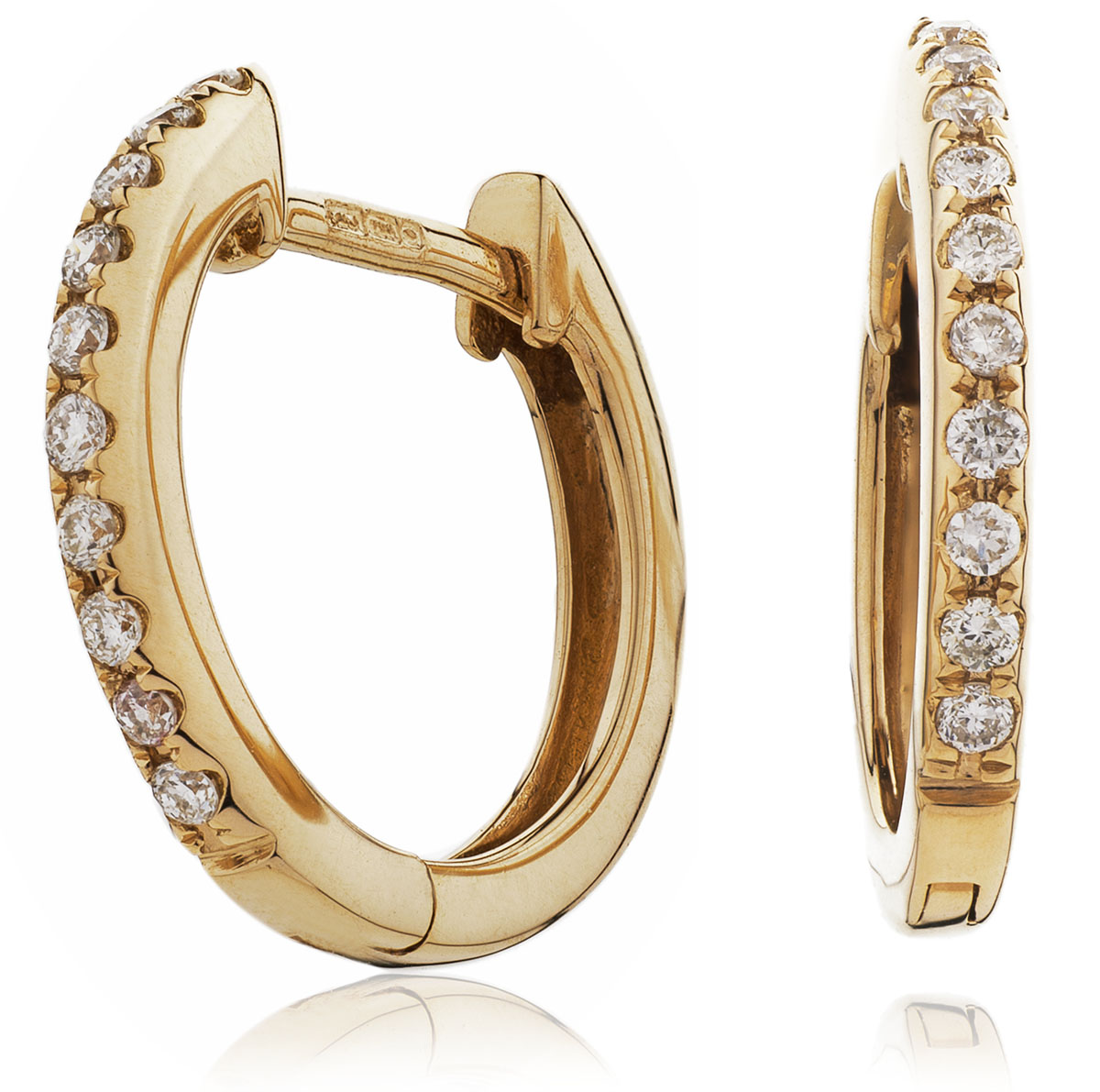 Micro Set Round Diamond Hoops Earrings