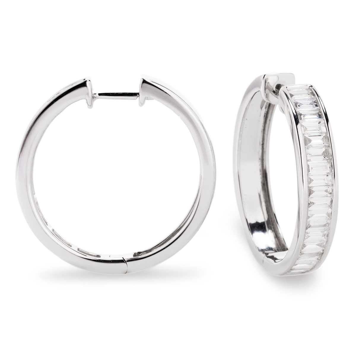 Baguette Cut Diamond Channel Set Hoop Earrings