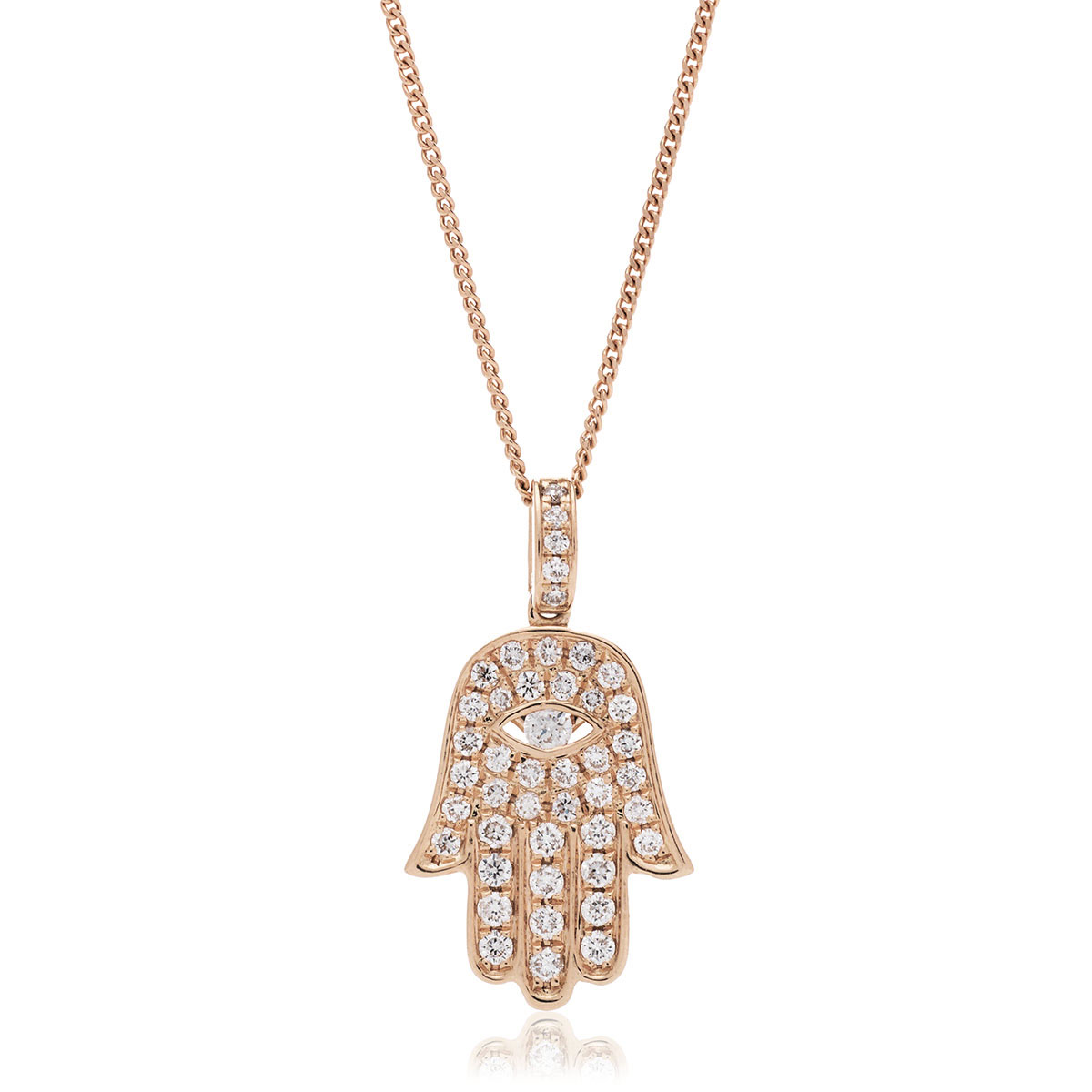 Pave Diamond Setting Hamsa Necklace