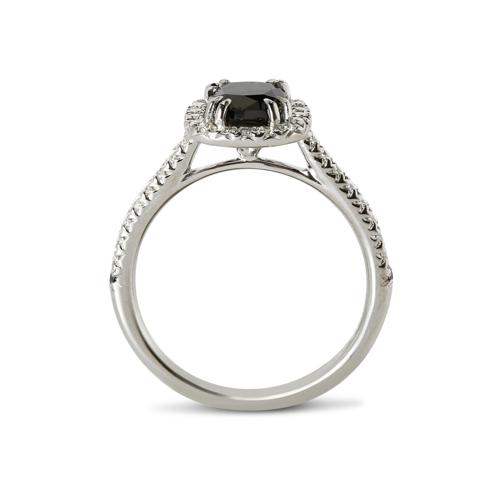 Black Diamond Cushion Cut Halo Engagement Ring