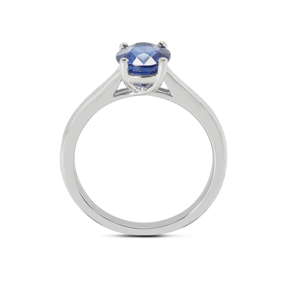 Blue Sapphire Oval Solitaire Engagement Ring