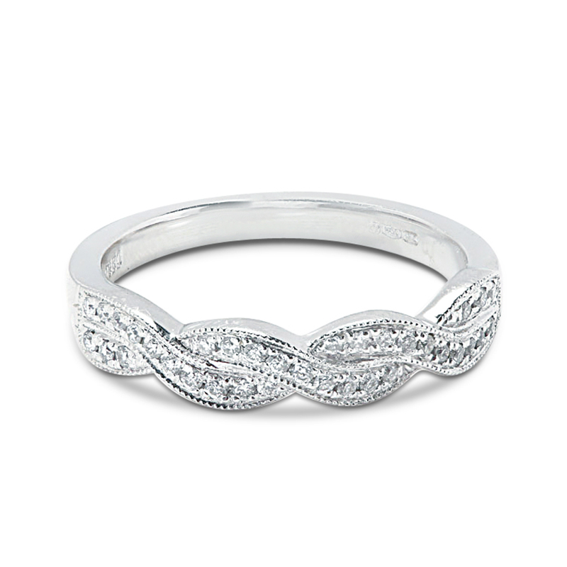 Braided Pave Diamond Wedding Ring