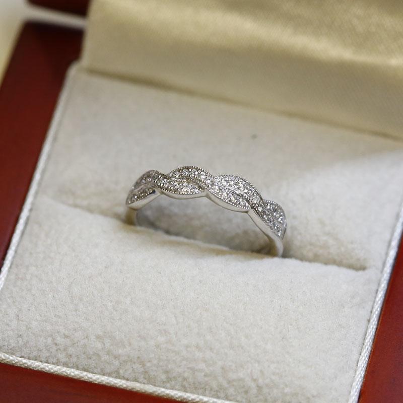 Braided Pave Diamond Wedding Ring