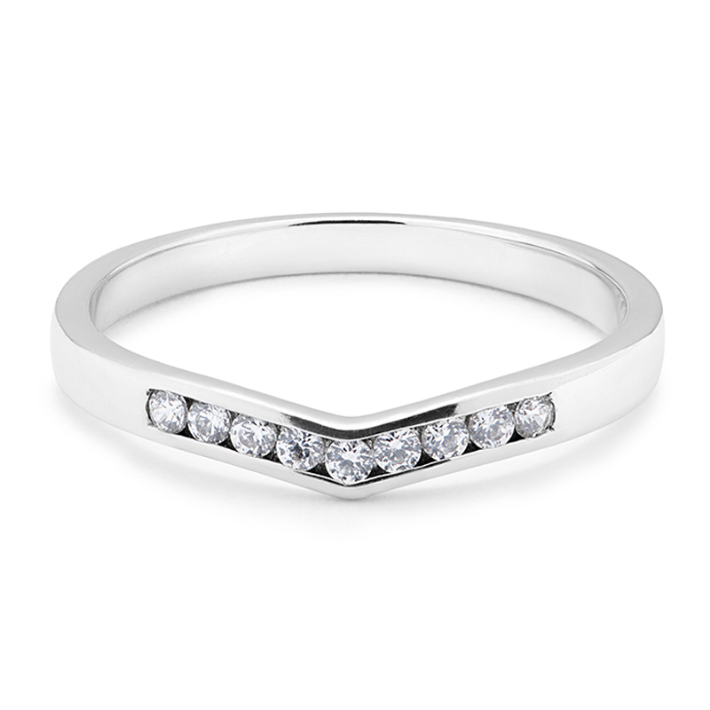 Channel Set Curve Diamond Wedding Ring