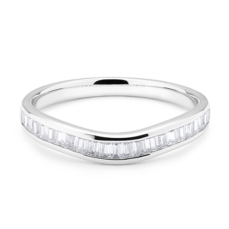 Channel Setting 0.55ct Curved Baguette Cut Diamond Wedding Ring