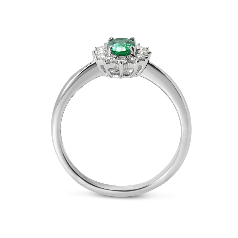 Green Emerald Oval Shape Diamond Cluster Engagement Ring